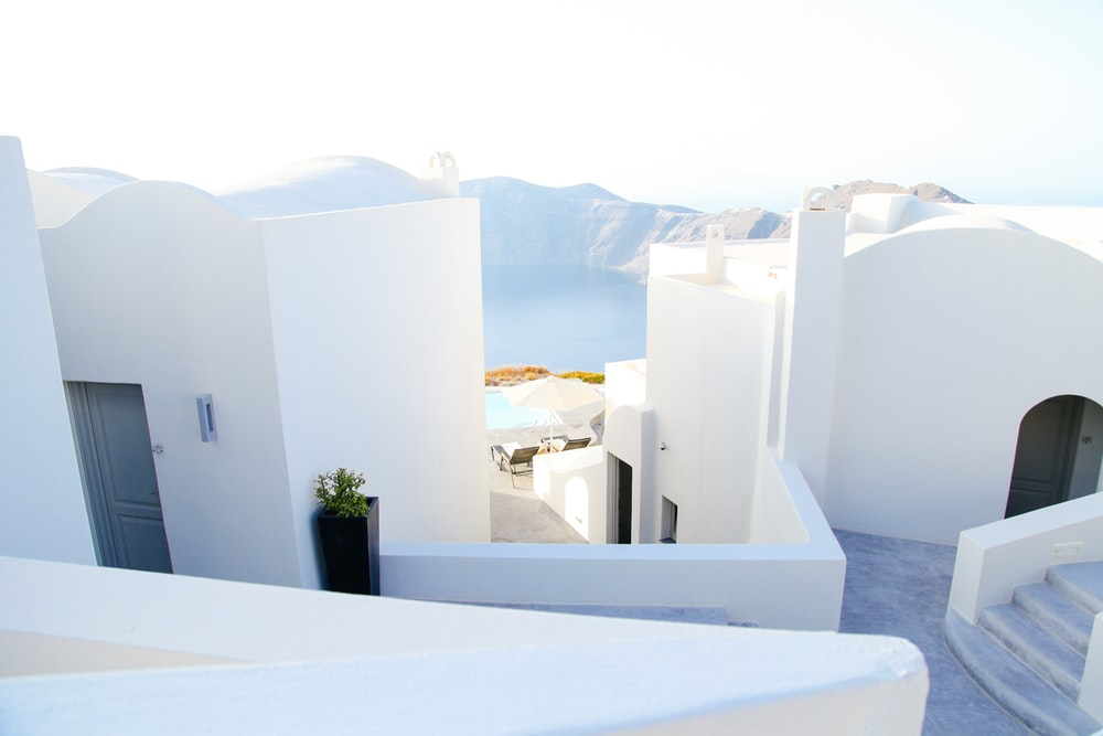 landscape photography of white houses