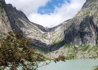 tall green tree near body of water surrounded by mountain range with river under white clouds during daytime
