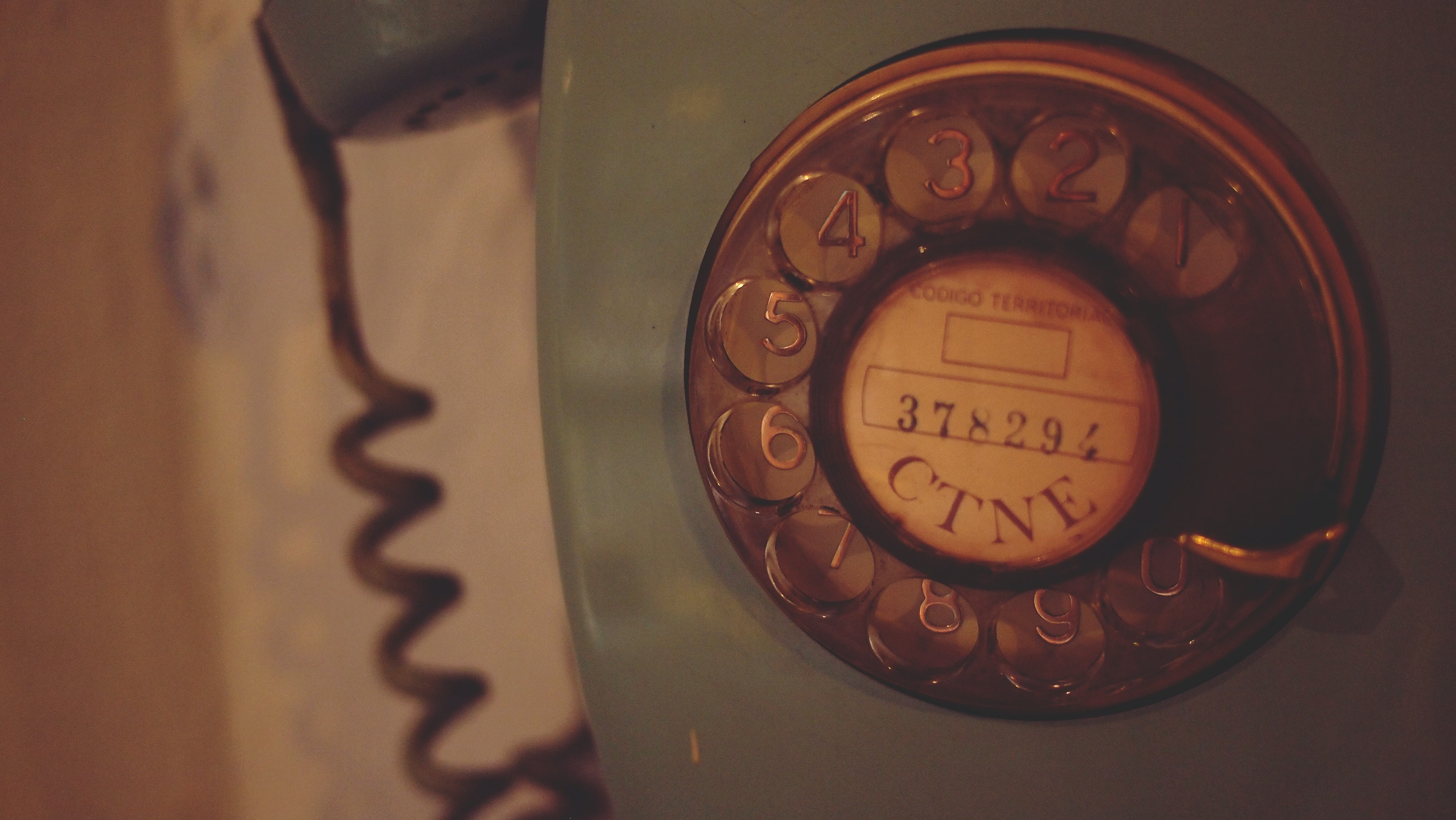 A vintage dial and spin telephone