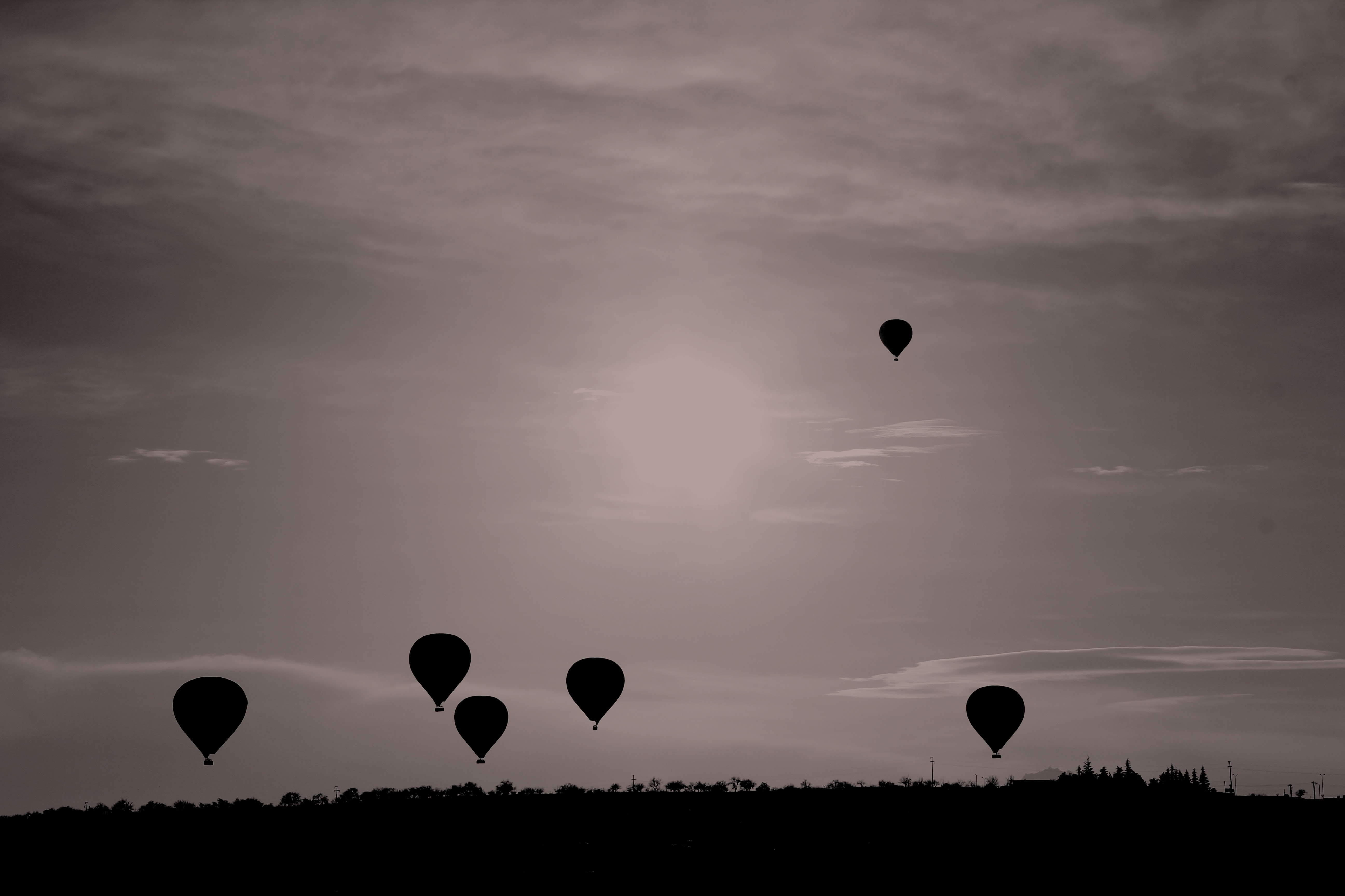 Silhouettes of hot air balloons fly across the sky