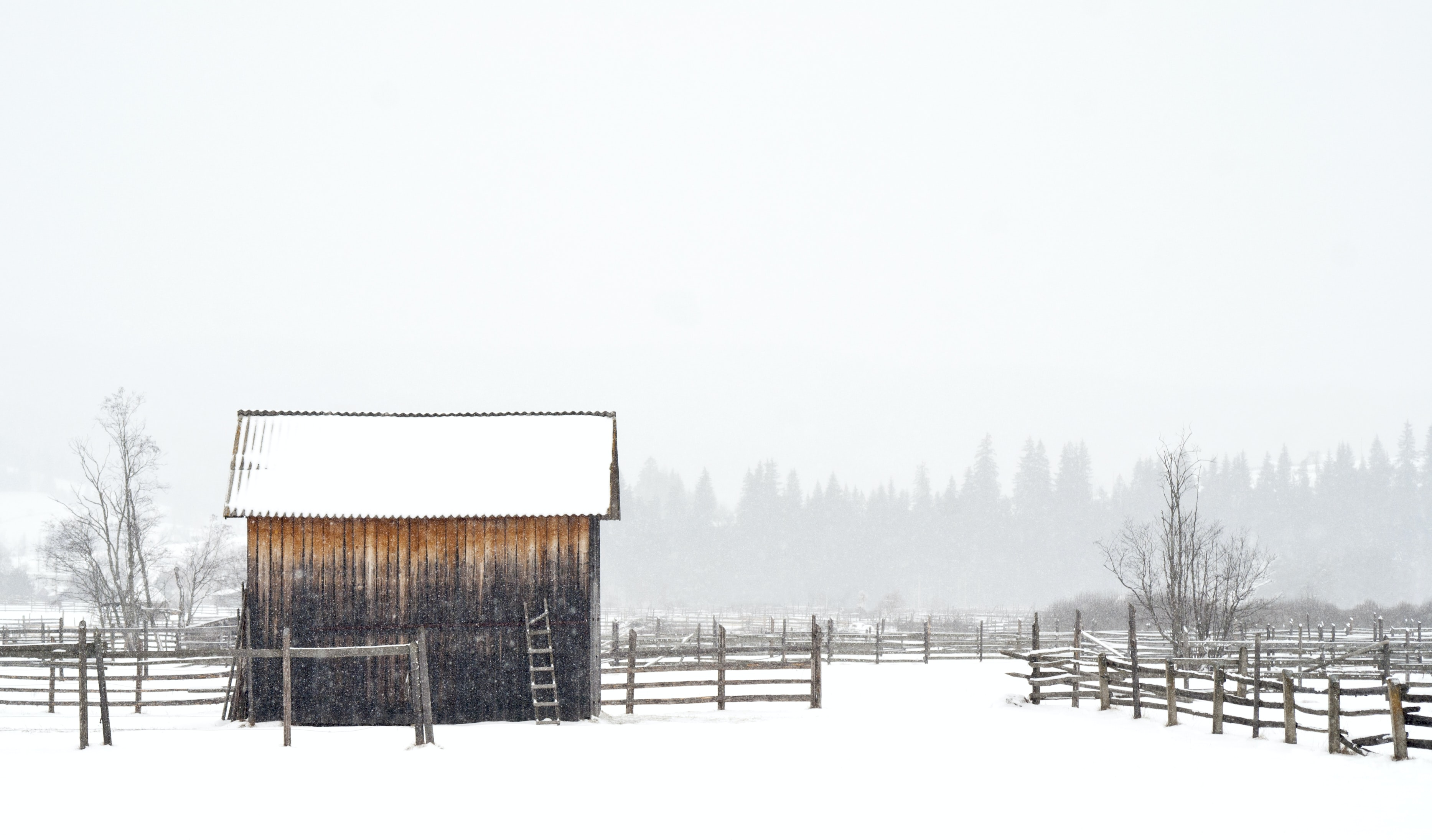 A snow covered barn stands tall on a farm during winter
