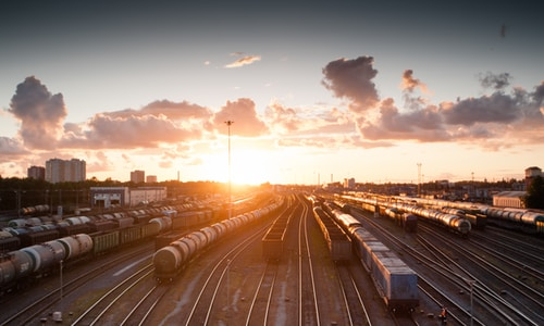 train station during golden hour