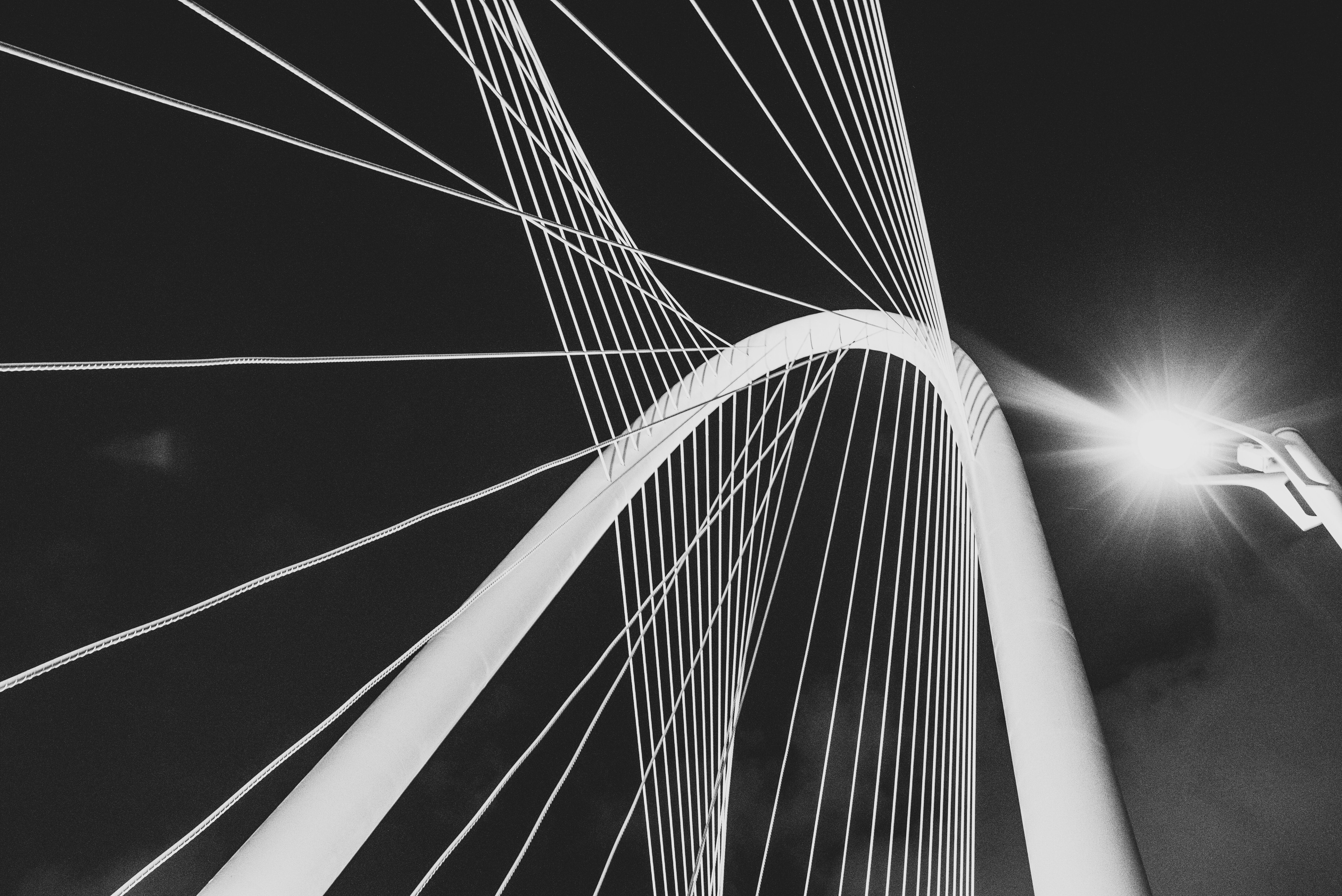 Black and white shot of bridge architecture with metal wire from below with light