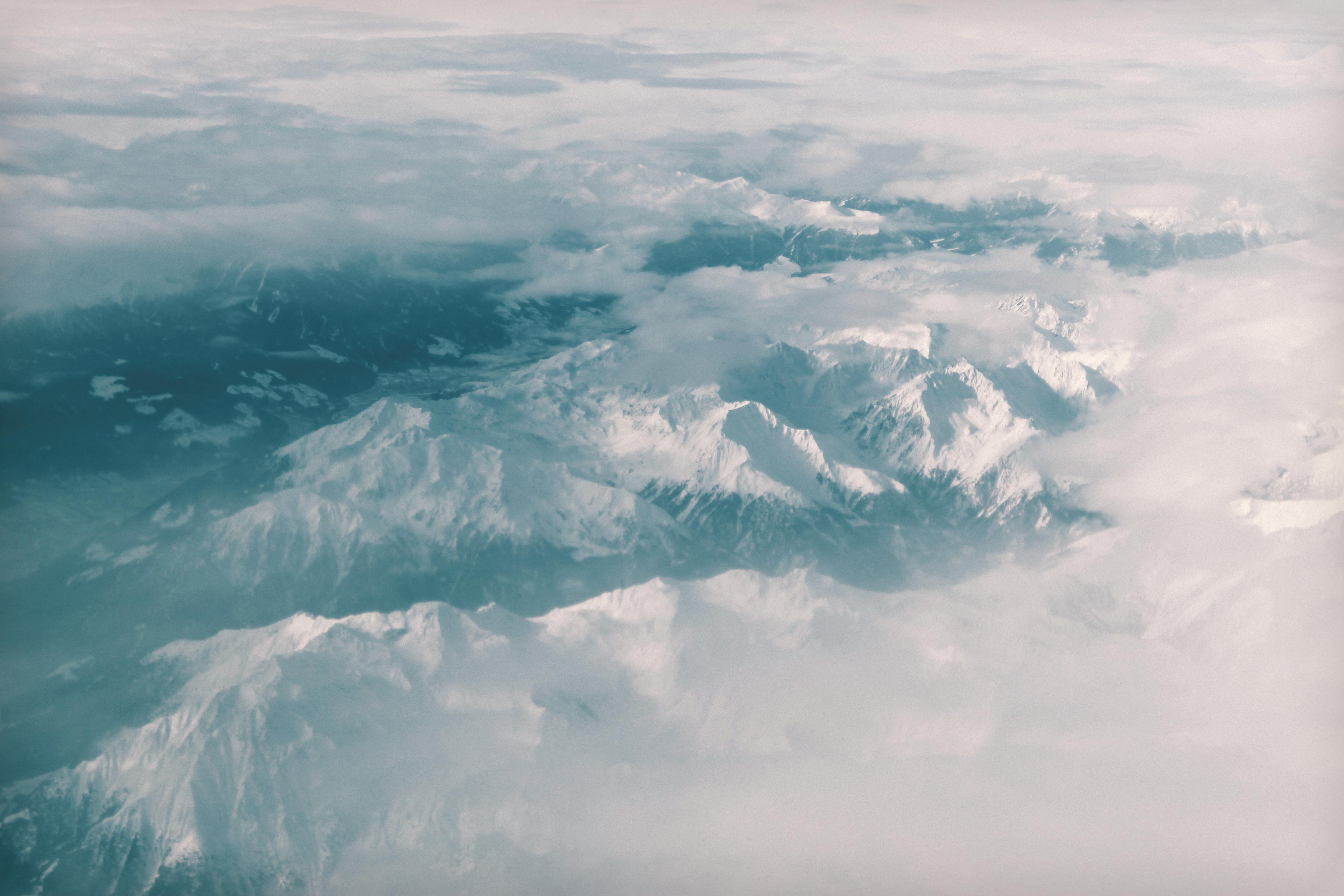 bird's eye view photography of mountain range