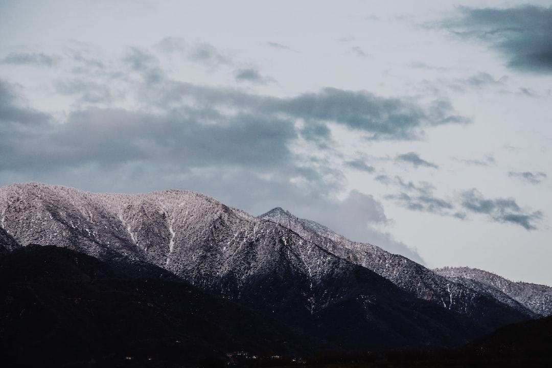 Light illuminated mountain peaks
