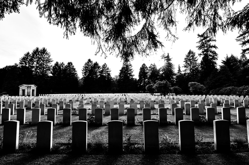 grayscale photography of cemetery