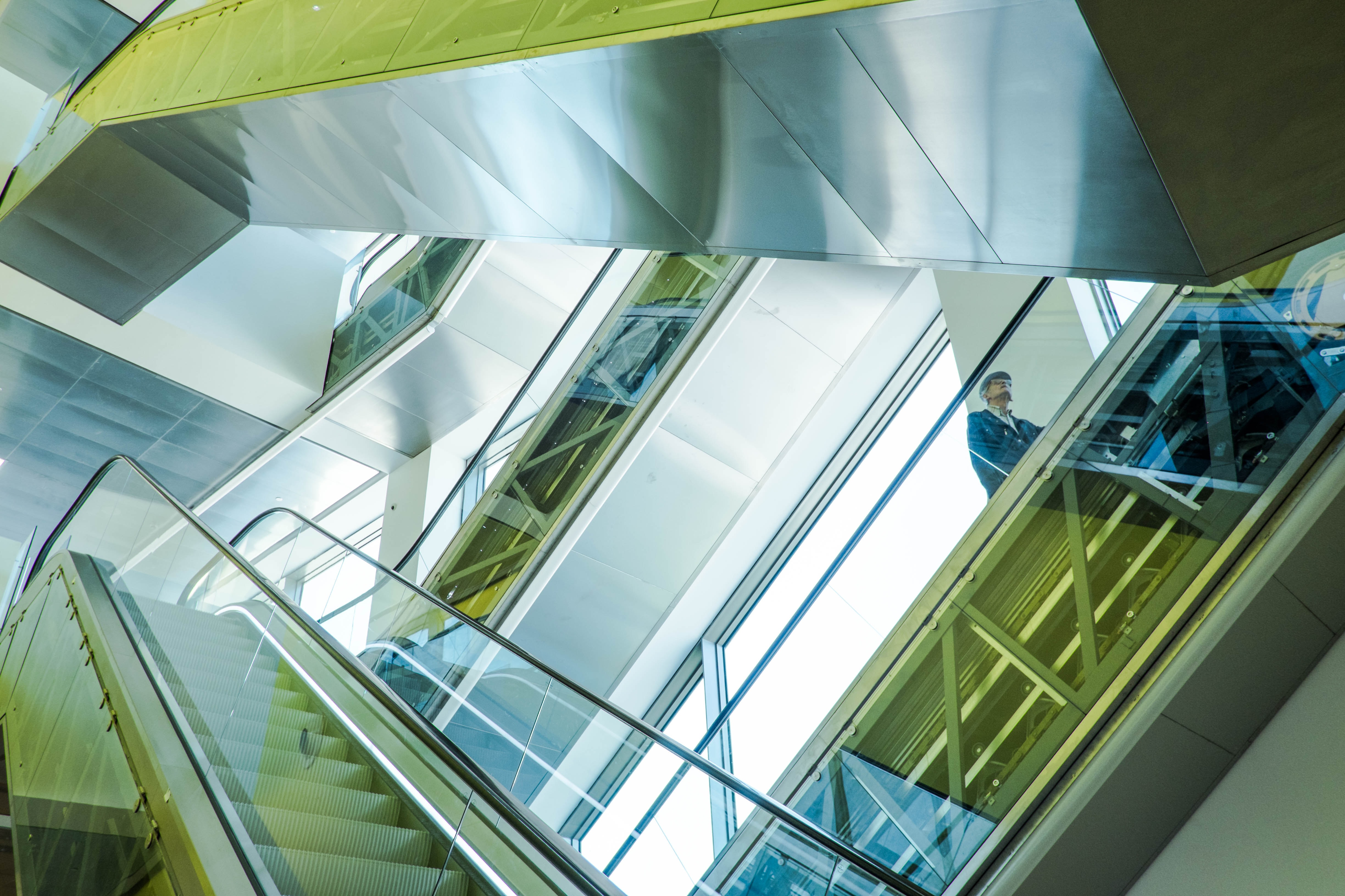 Colorful natural patterns formed by escalators inside a corporate office
