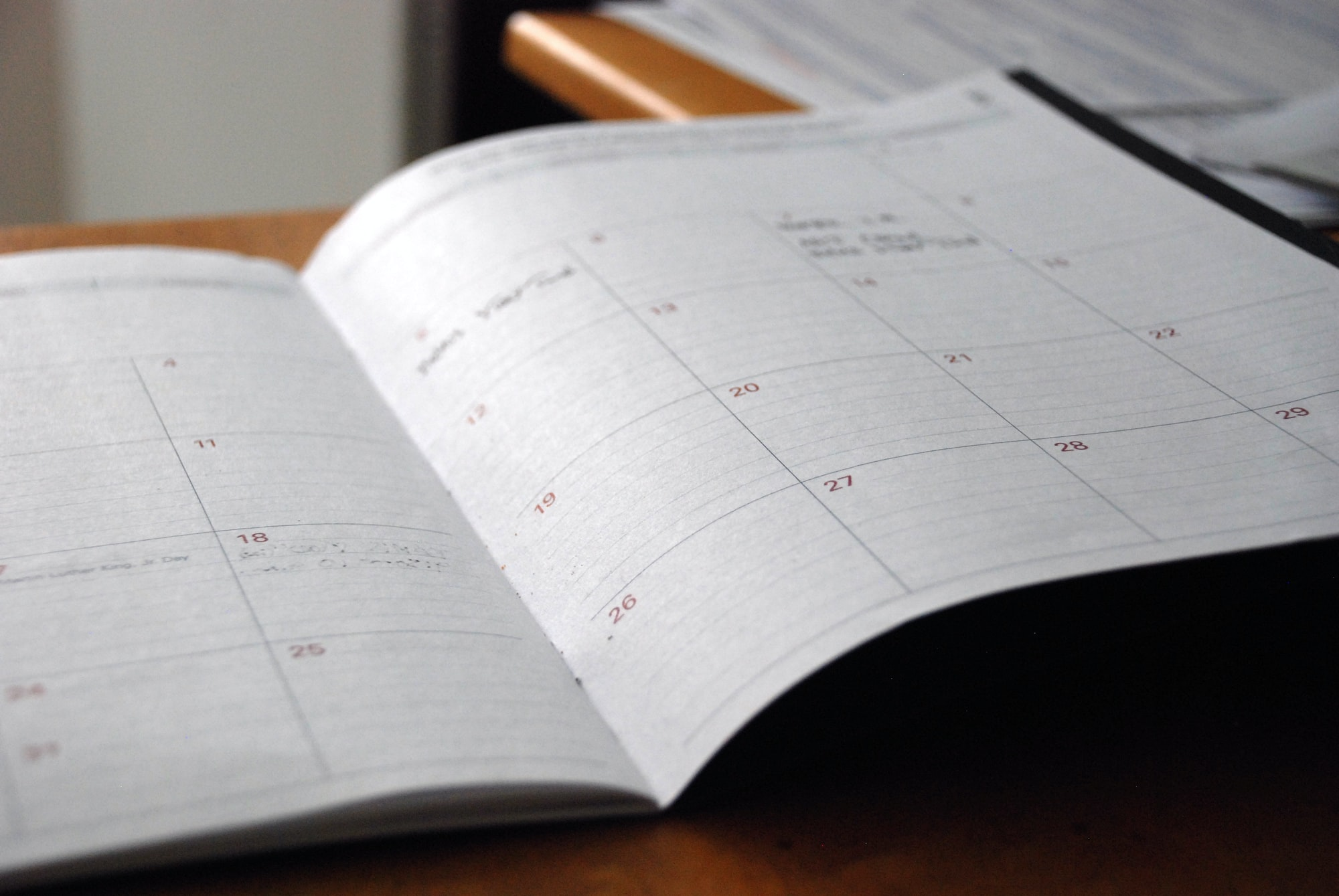 Monthly schedule on a planner