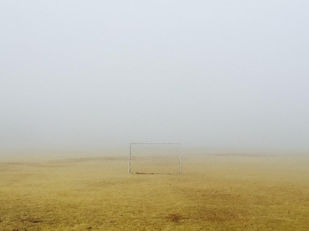 white goalie stand