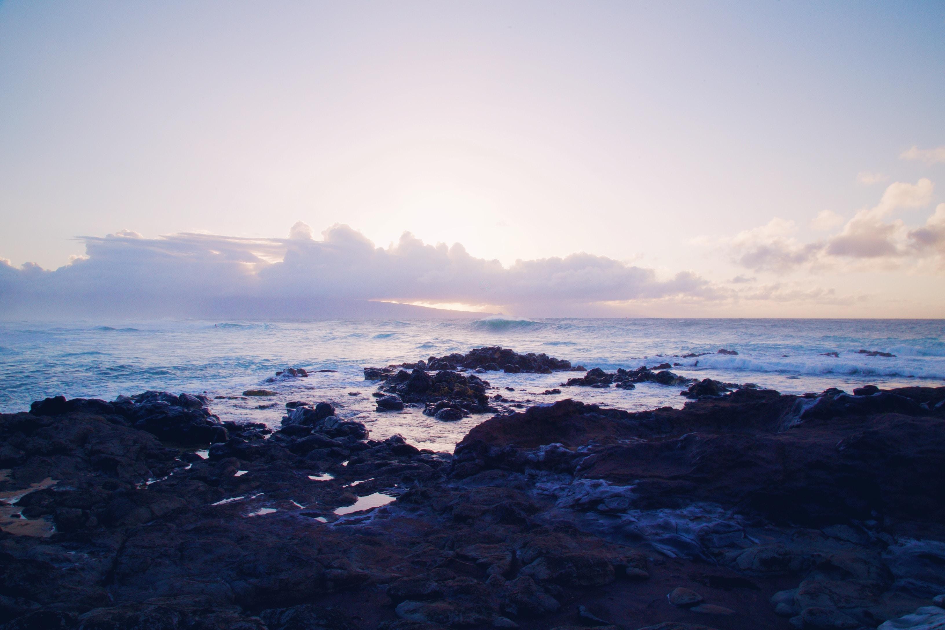 A seaside coast during sunset