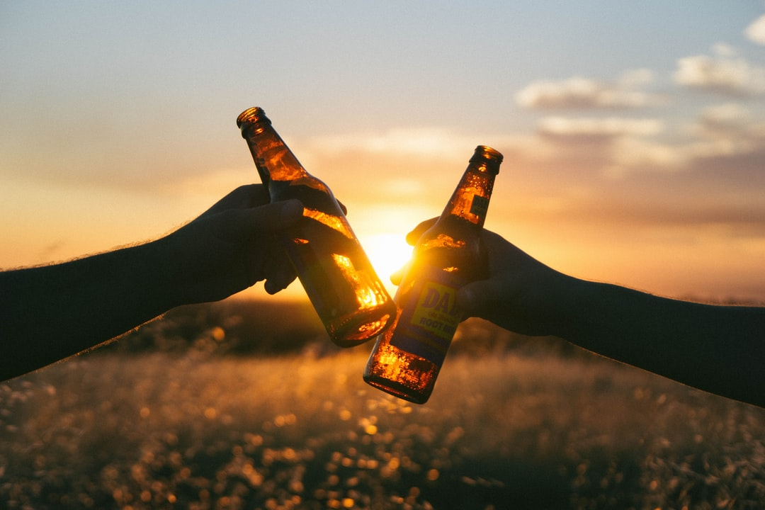 Two men holding beer bottles cheers at sunset in silhouette