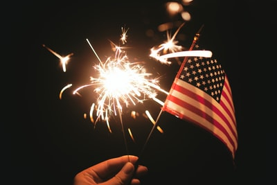 time lapse photography of sparkler and u.s.a flag let independence day teams background