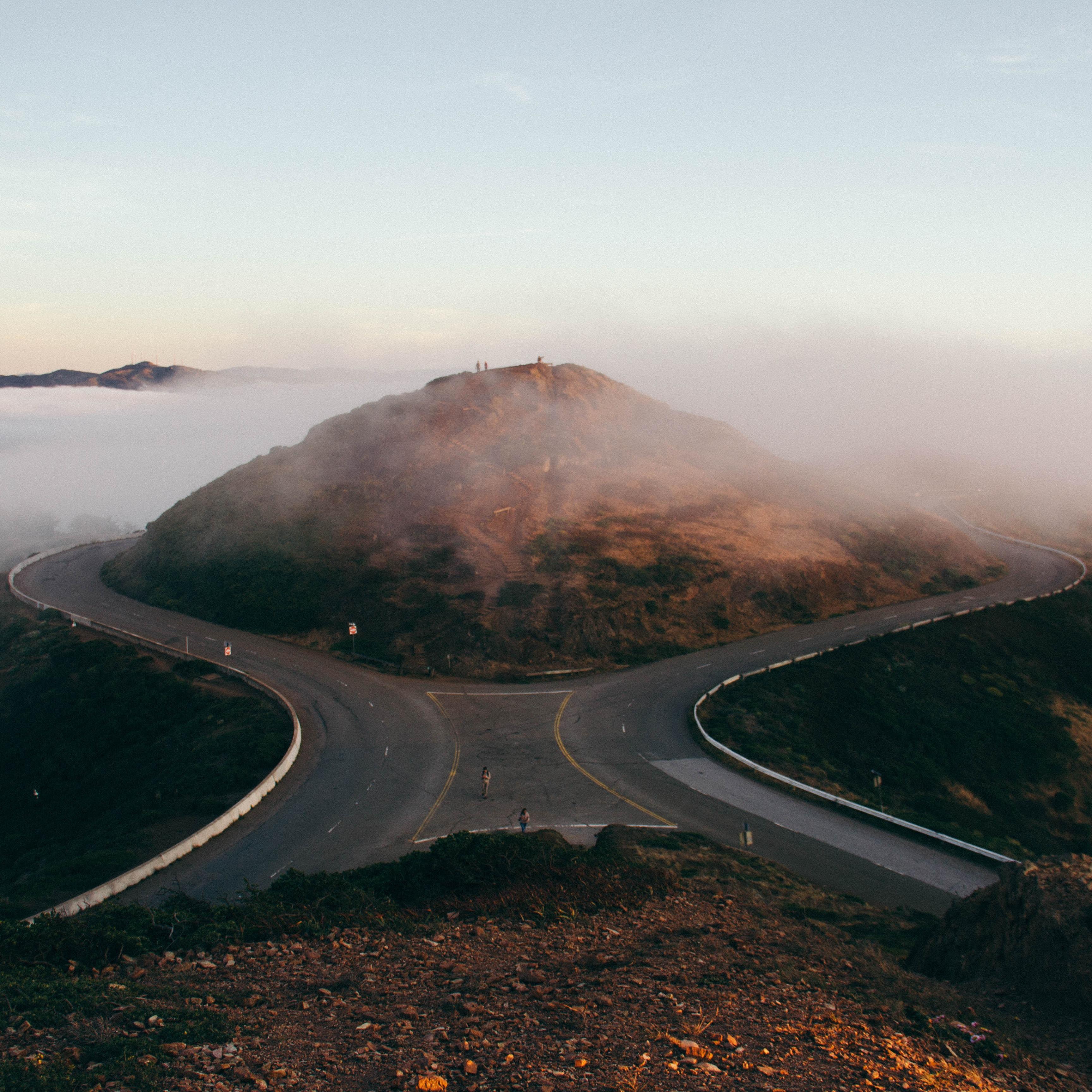 Empty roads circle around a mountain