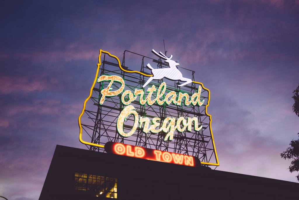 Portland Oregon Old Town neon signage during night time