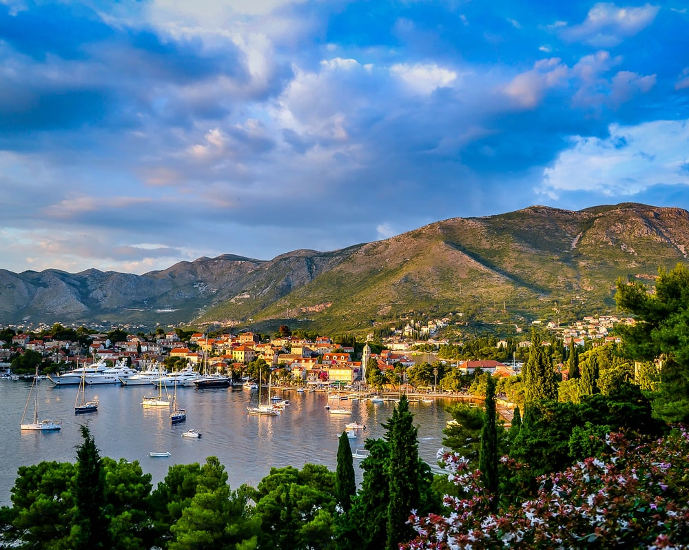 boats on body of water surrounded by trees and houses near mountain under blue and white sky at daytime