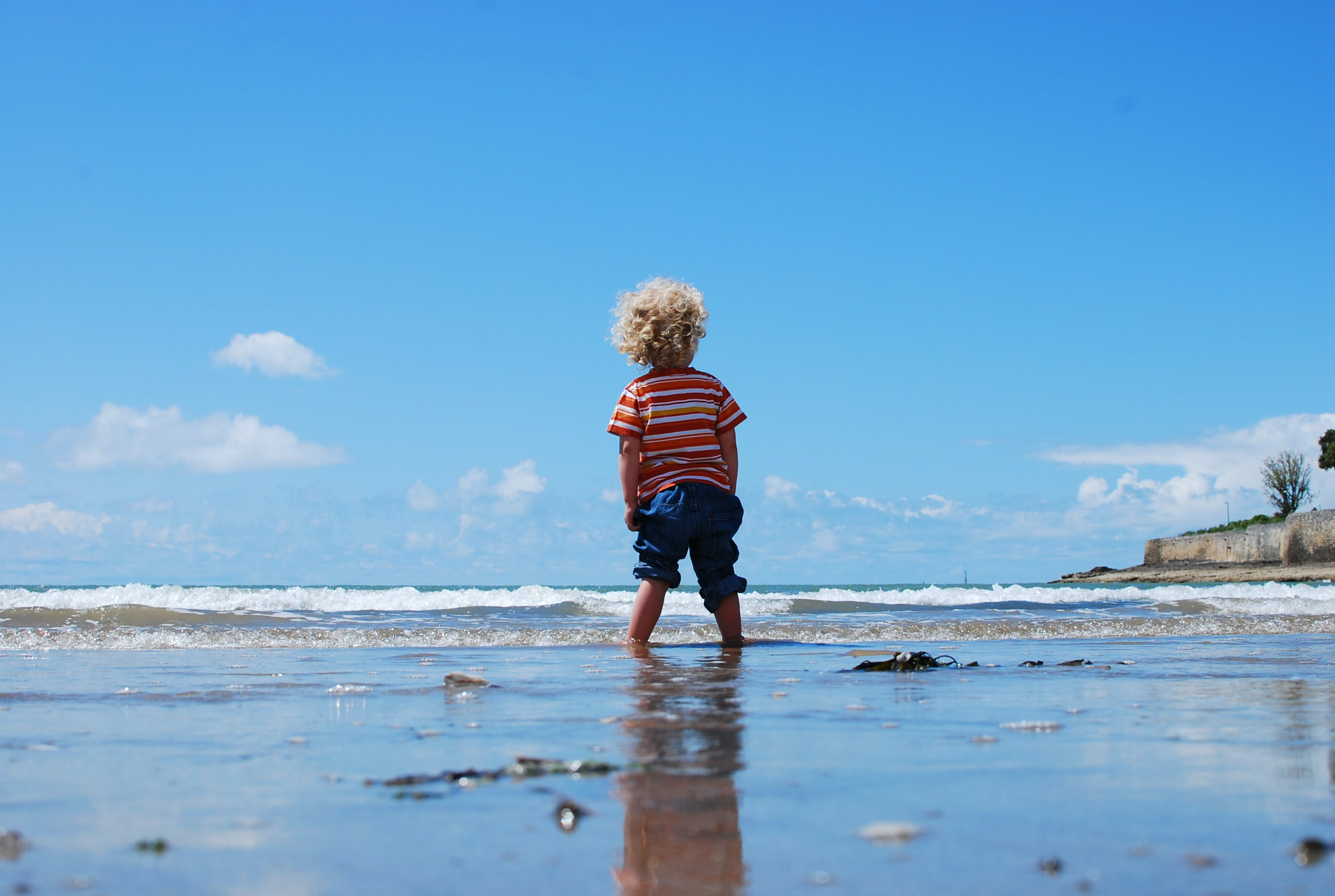 A little boy with curly blonde hair, wearing a striped red shirt, standing in the water