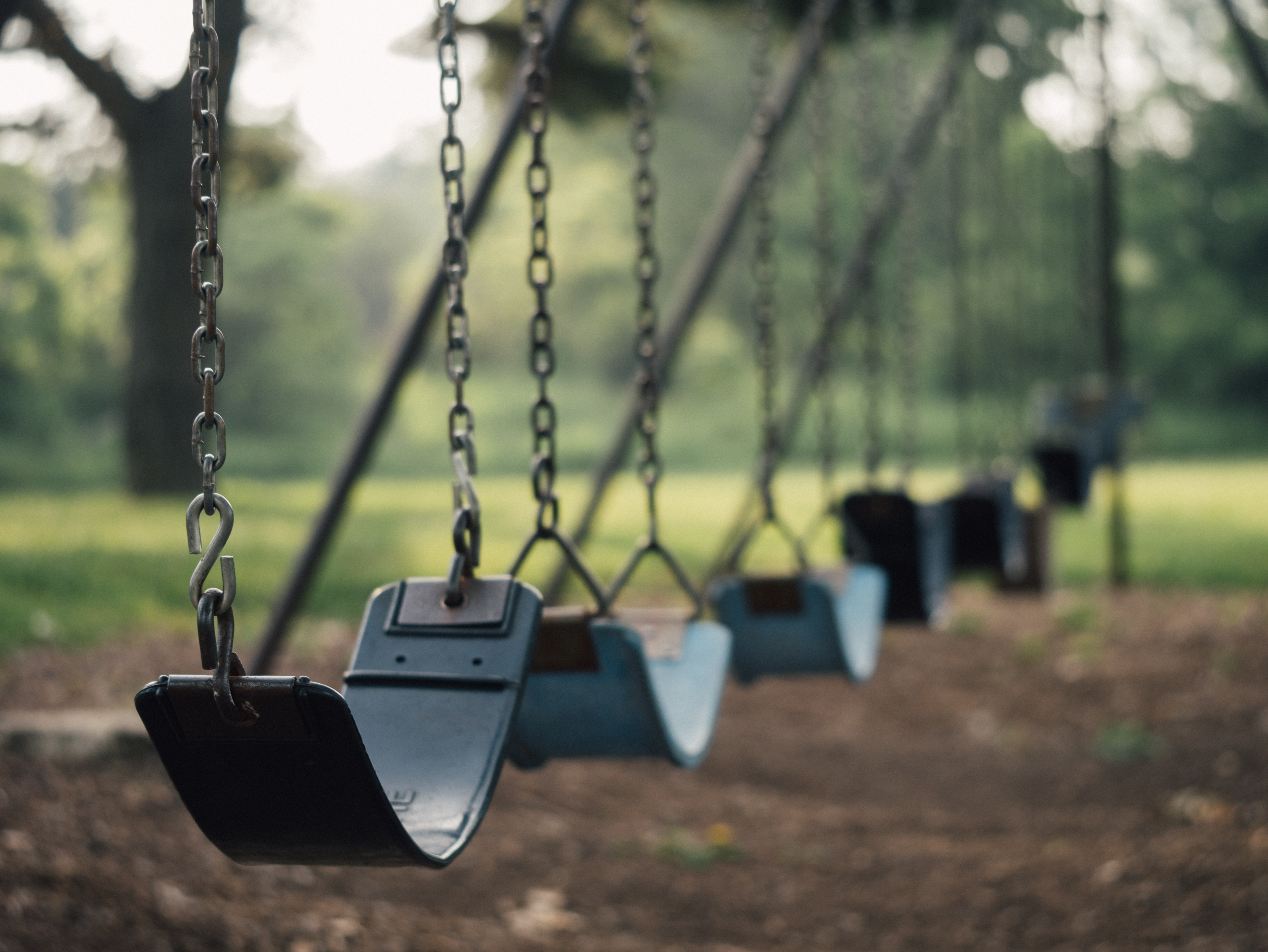 Chainlink swings at the playground