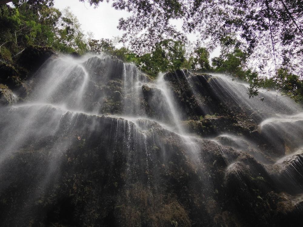 timelapse photo of falls