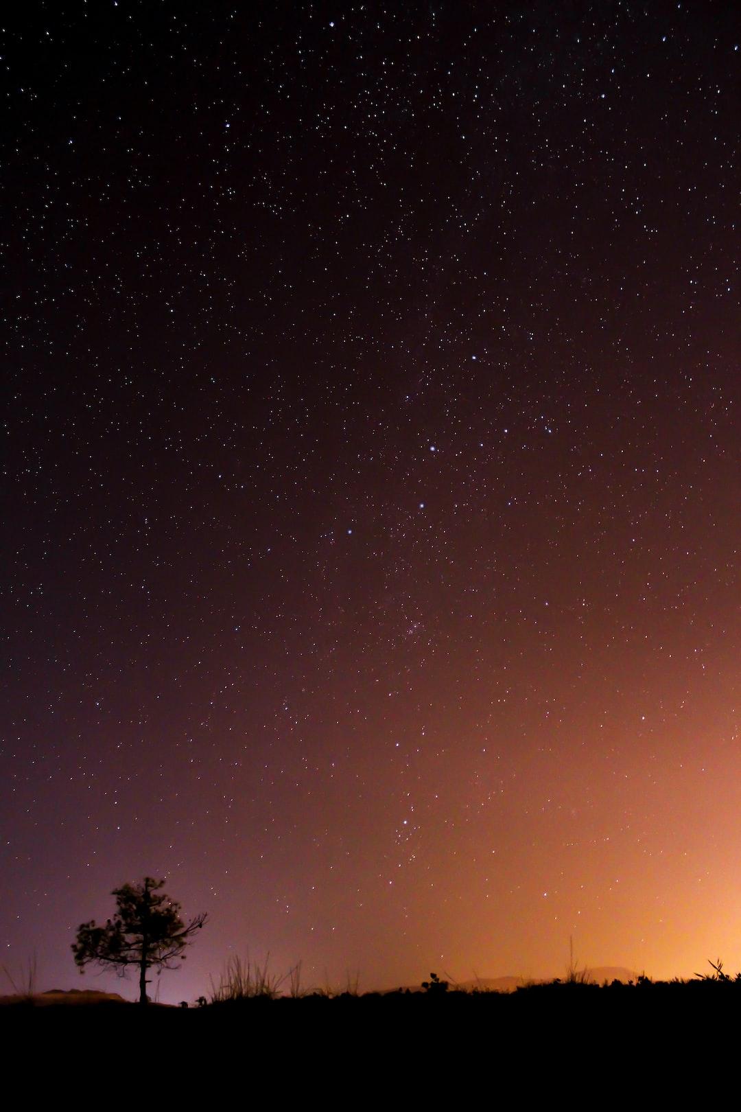 Black and orange night sky
