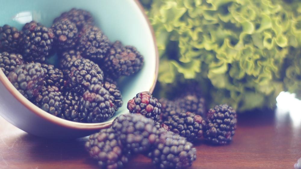 blur raspberries on table