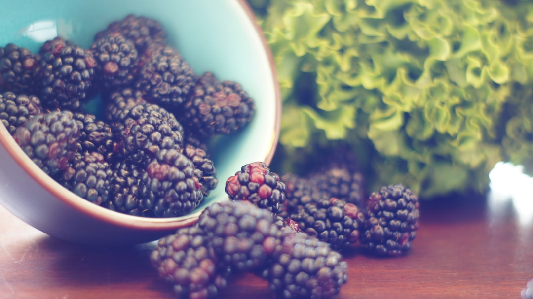 Dreamy shot of blackberries from a bowl.