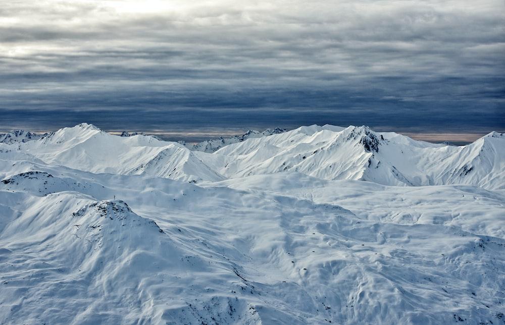 bird's-eye view photography of snow mountain