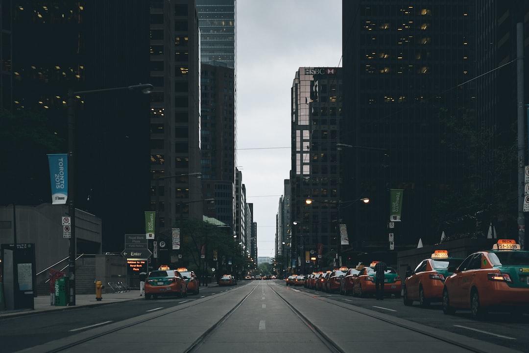 Taxi rank on city center street