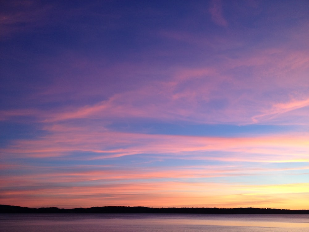 orange and blue sky during golden hour