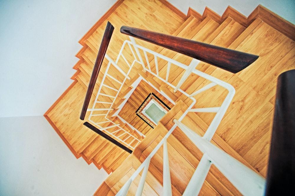 brown wooden spiral stairs