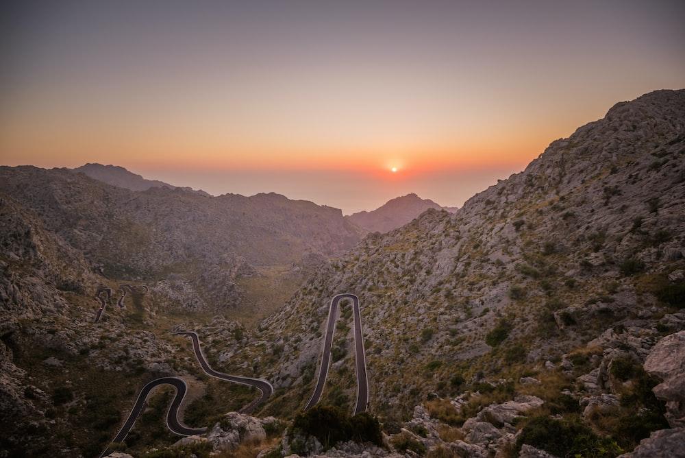 snake road in mountain field