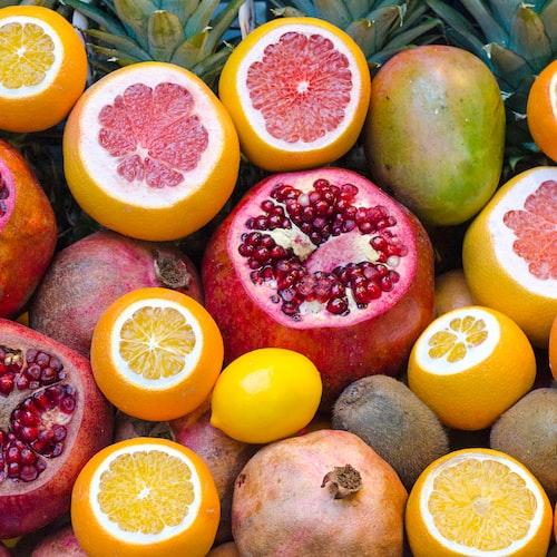 grapefruits, lemons, and pomegranates.