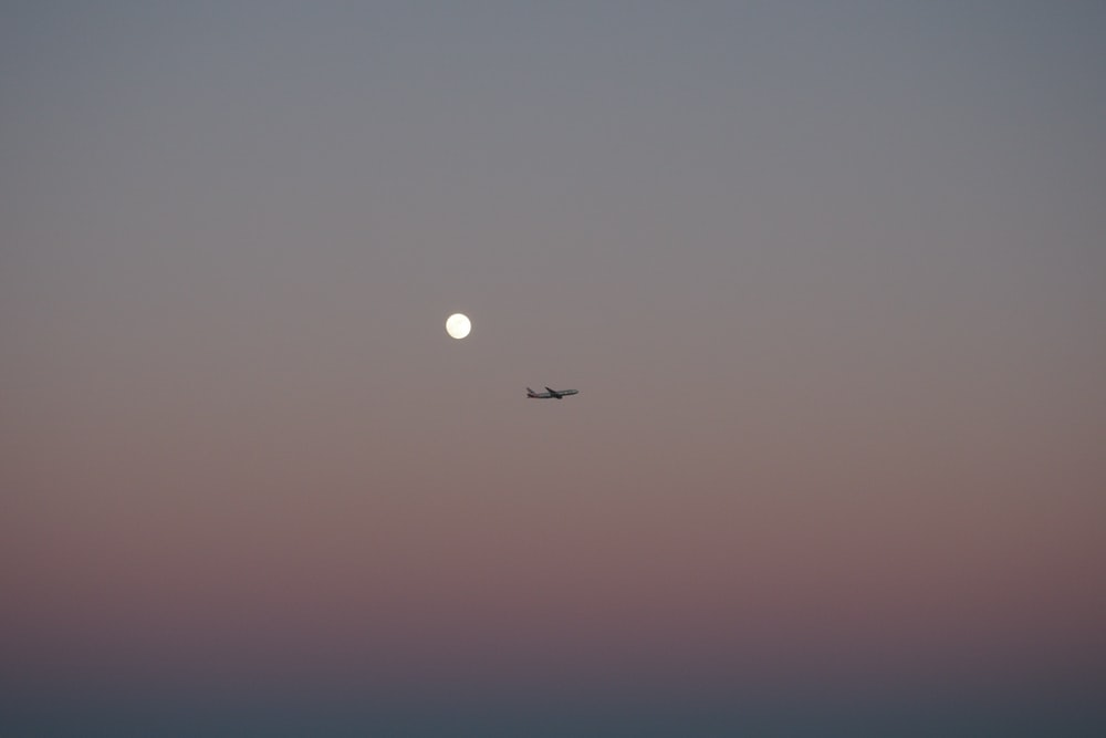 silhouette photo of plane on the sky