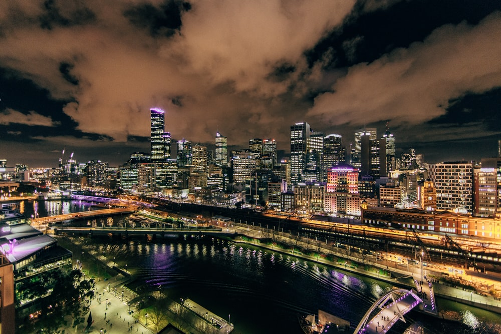 city view lighted during nightie photography