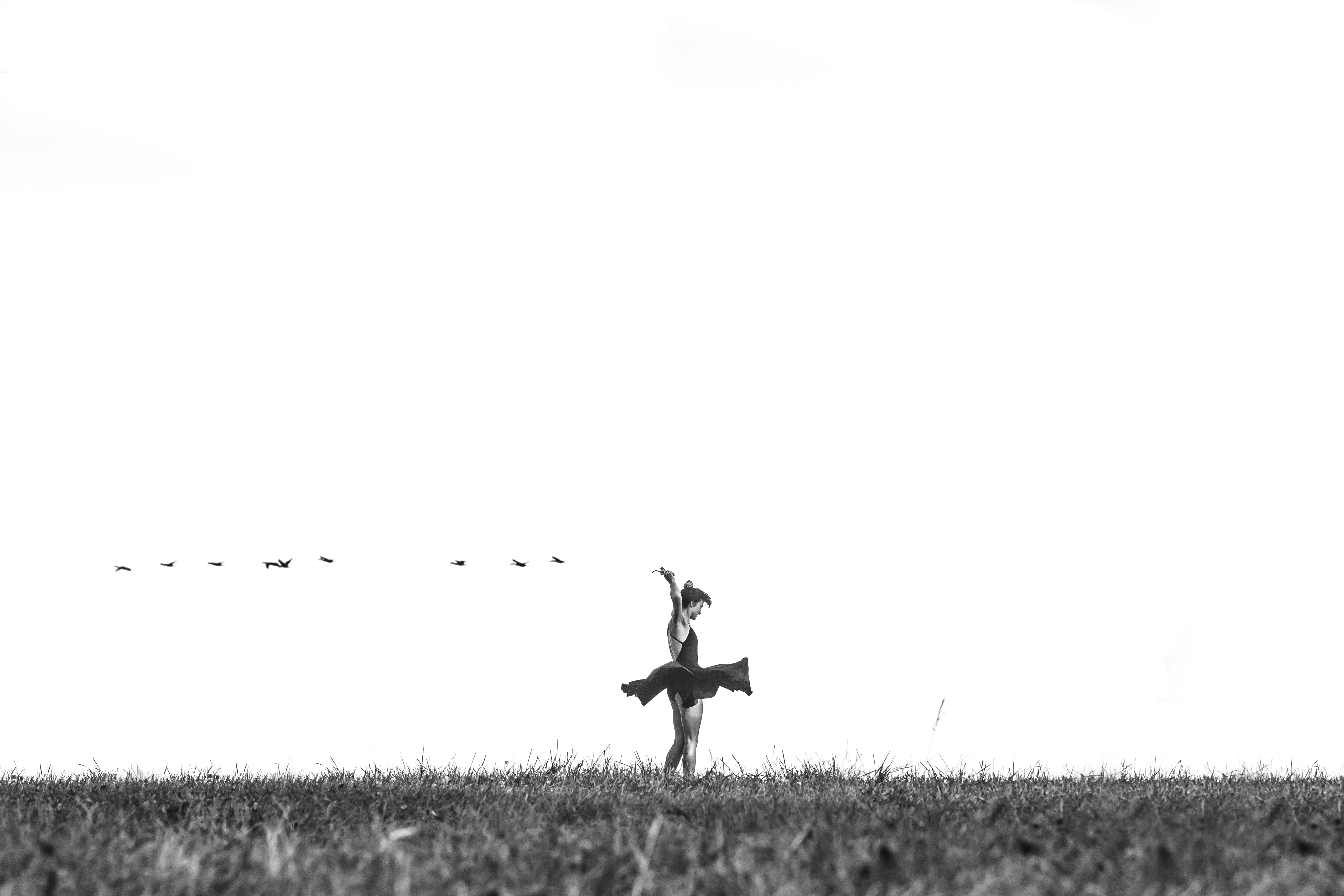 Black and white shot of girl dancing on grass in distance with birds, Toronto Islands