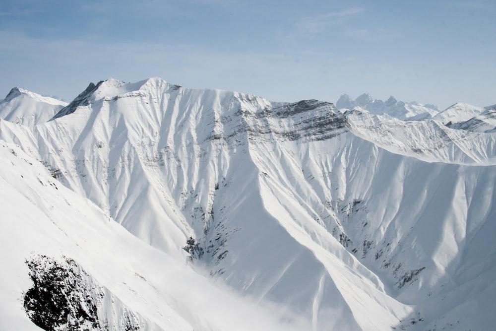 birds eye photography of snow covered mountain