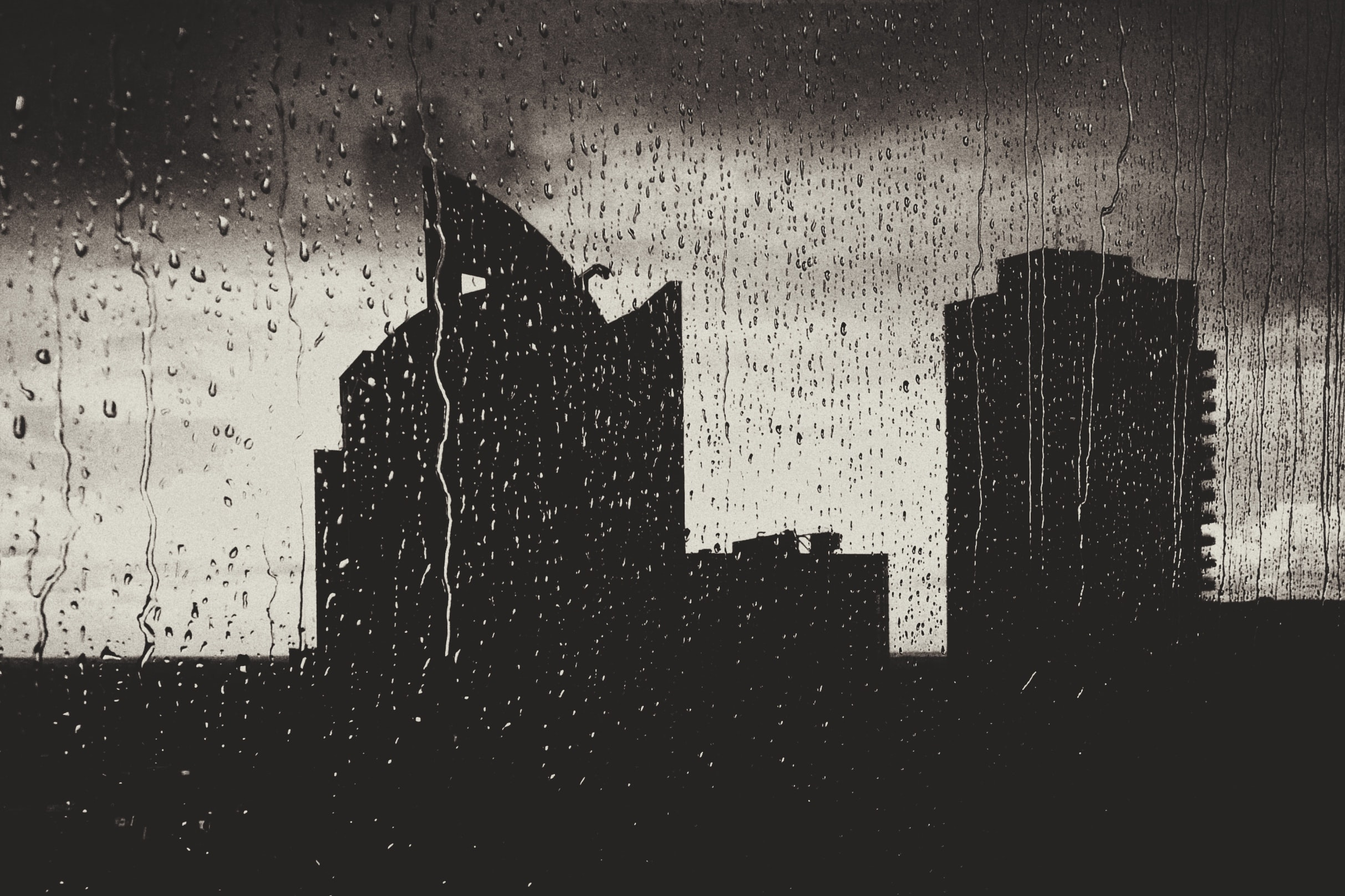 silhouette of high rise buildings