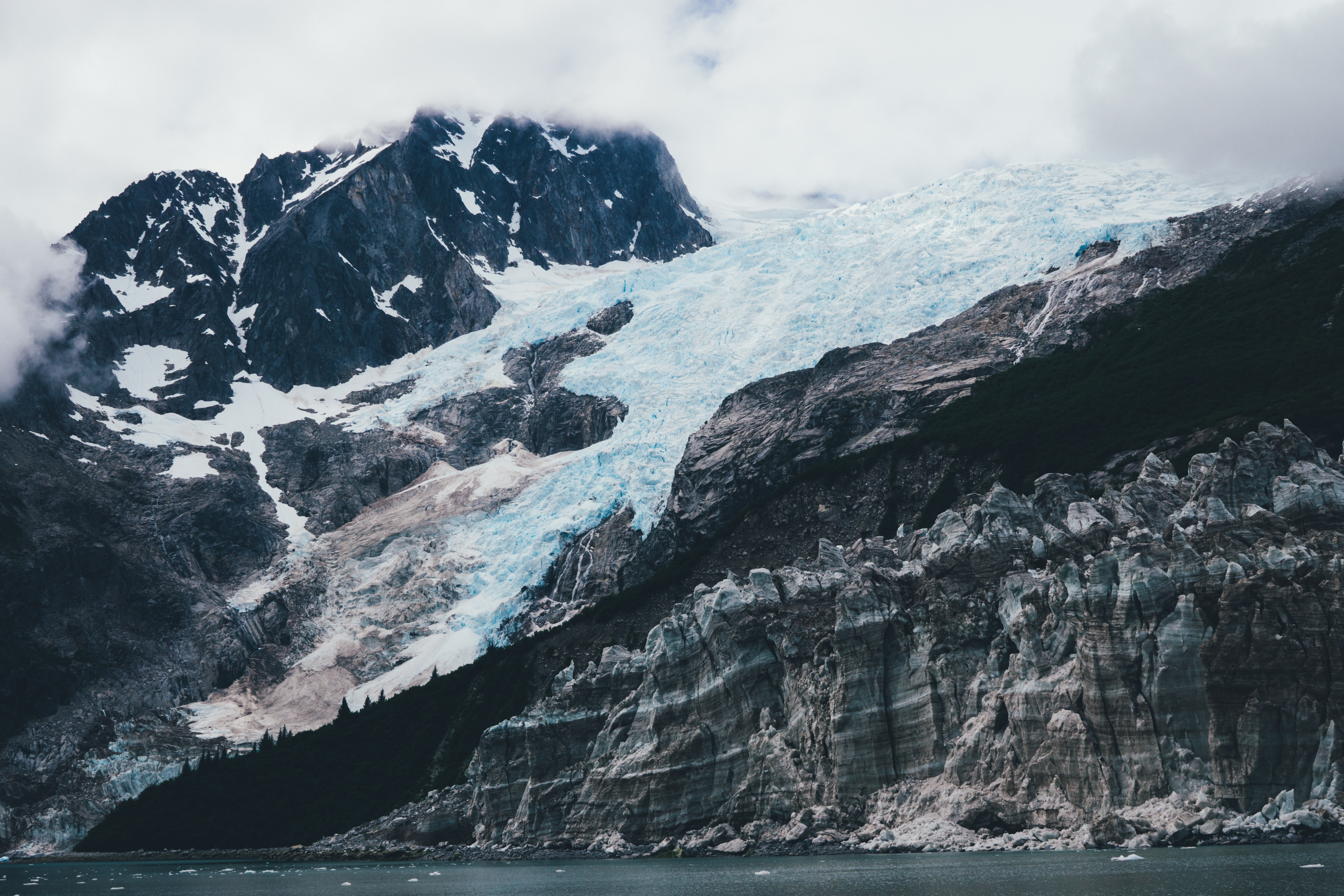 An icy glacier slope in Kenai Fjords National Park.