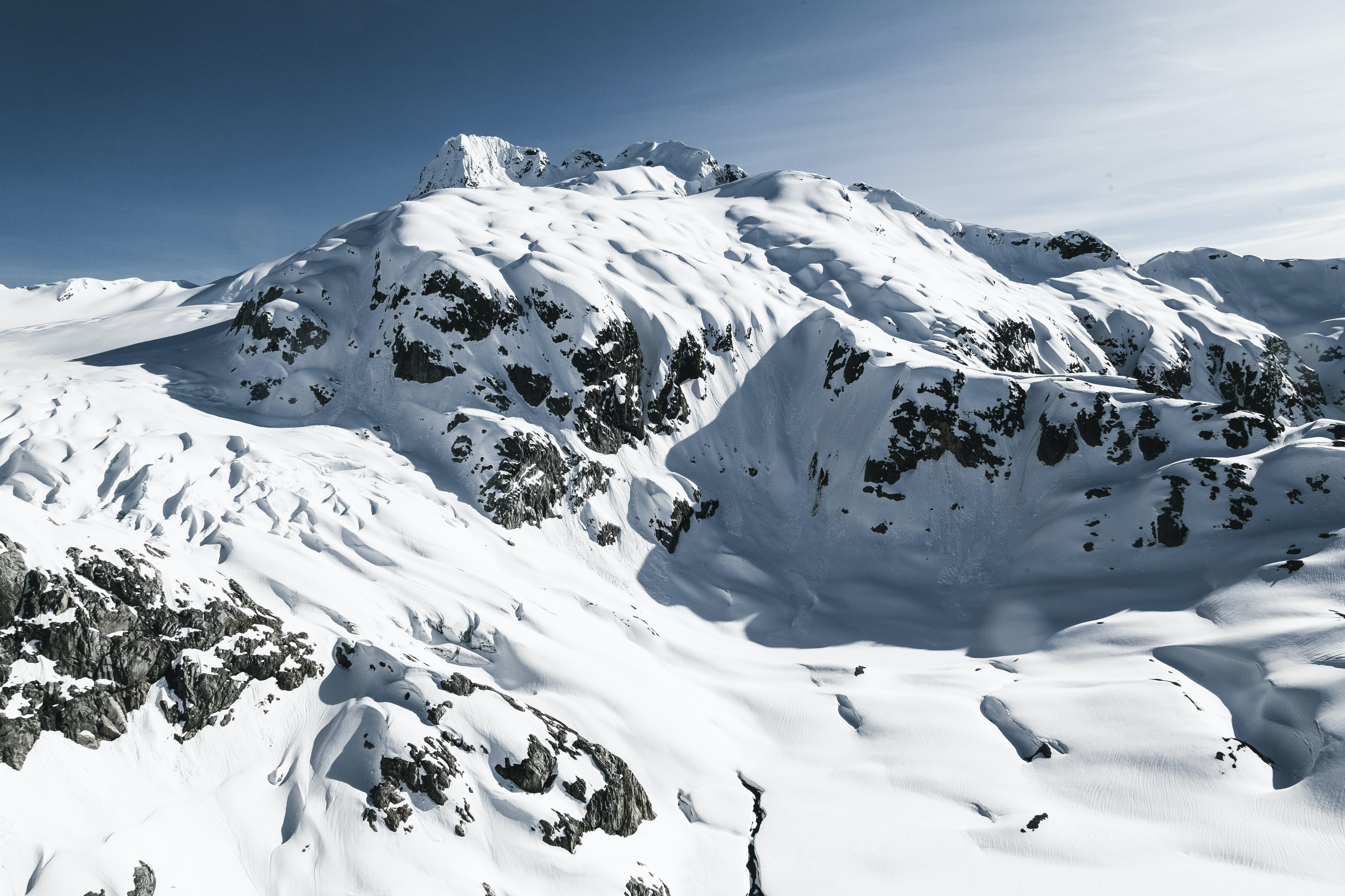 The mountains of Golden Ears Provincial Park in Maple Ridge, British Columbia laden with snow