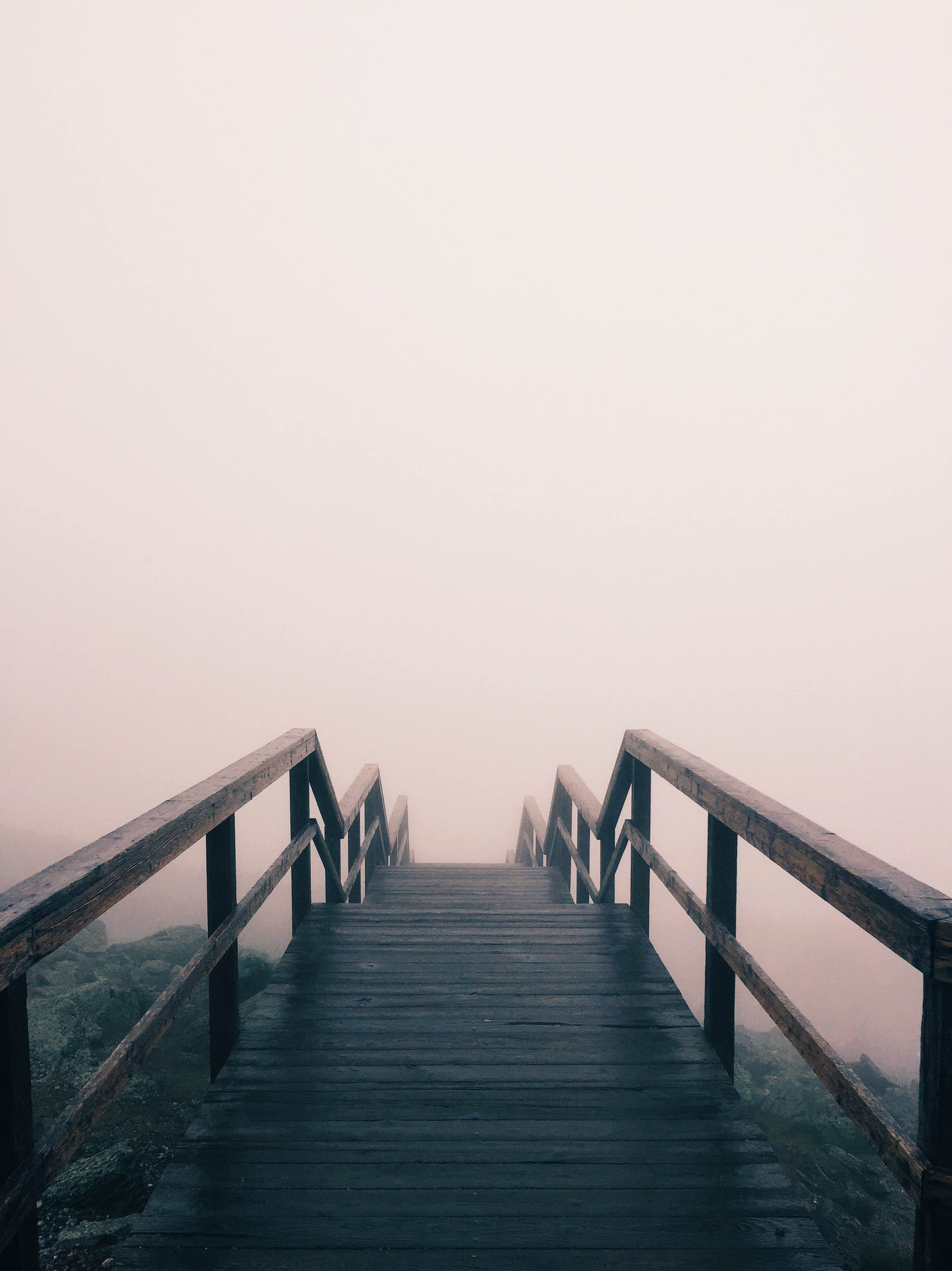 Stairs lead down a rocky hillside and disappear into fog