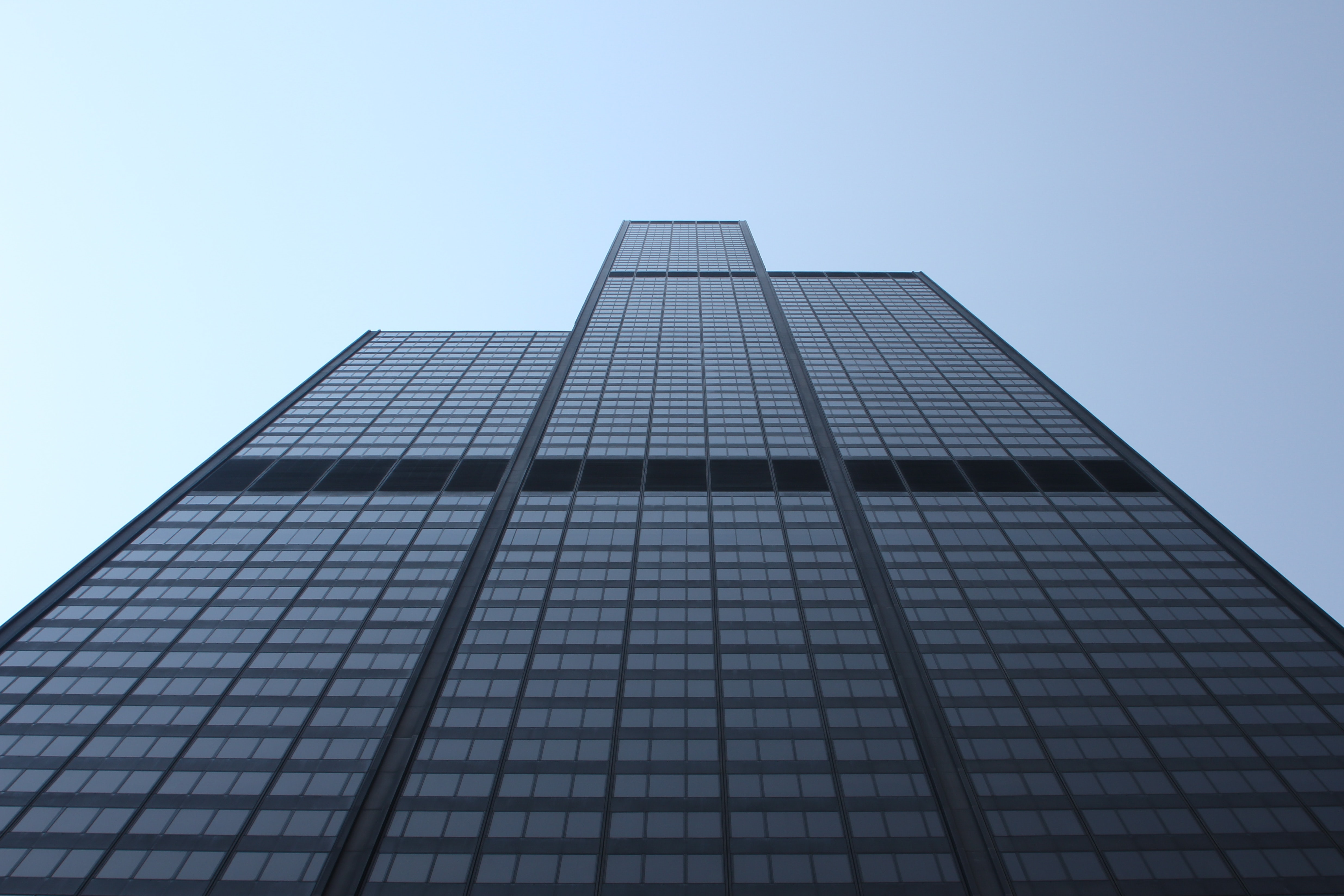View of Willis Tower skyscraper facade and windows from below