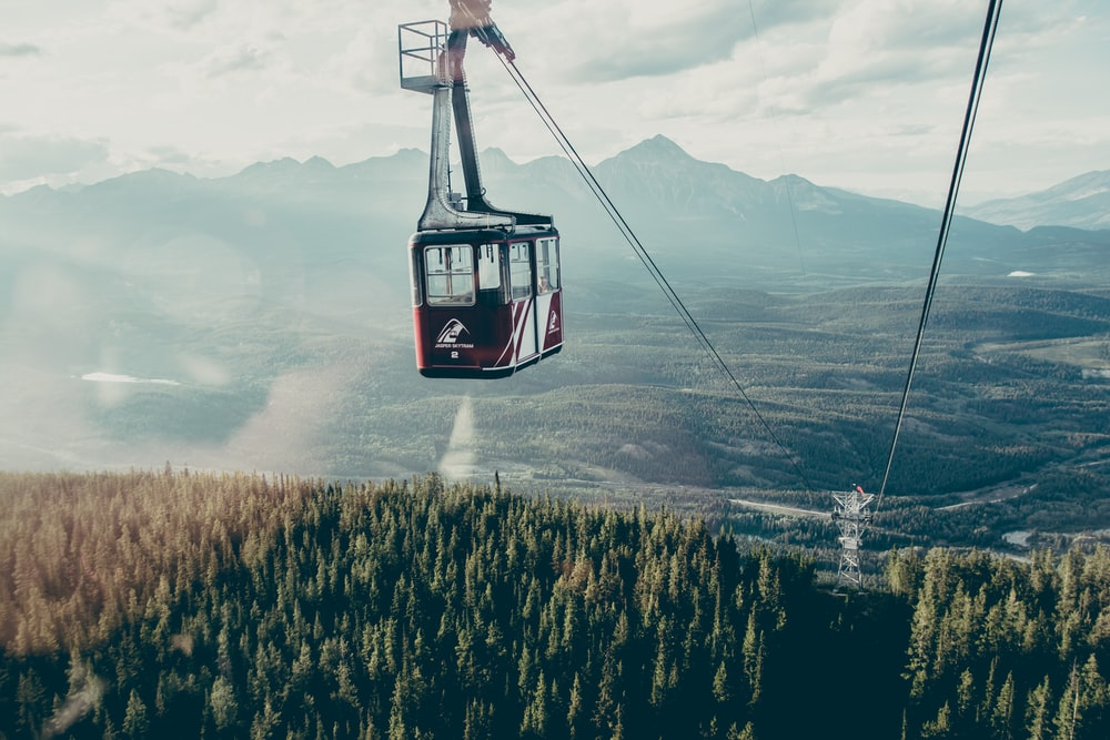 red and white cable cart above trees covered mountain