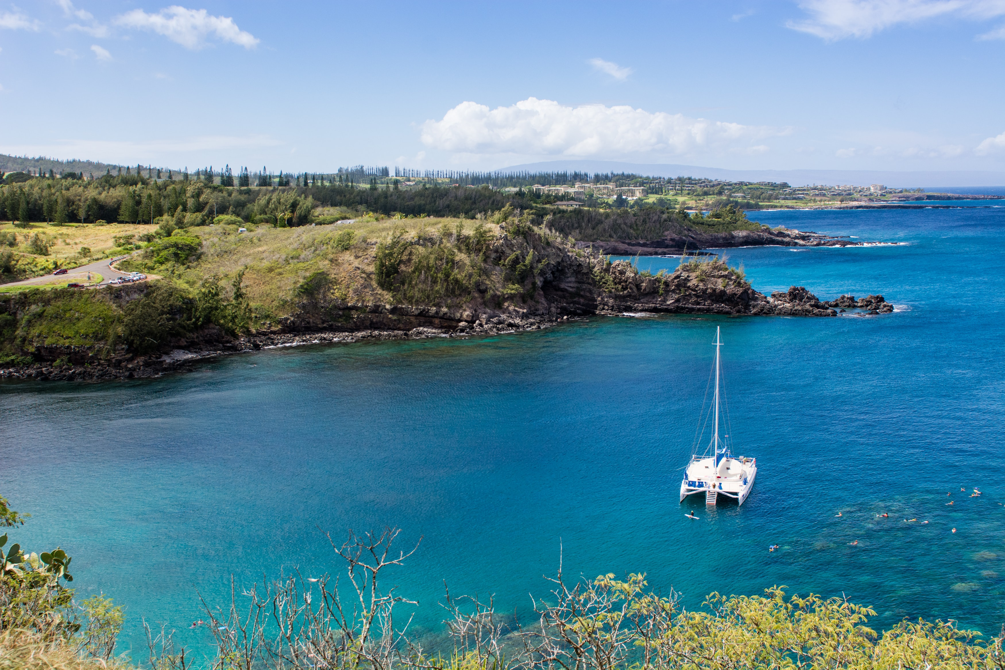 A lone sailboat sitting in a bright blue lagoon along a green forest in Maui