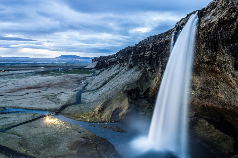 timelapse photography of water falls