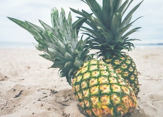 two yellow pineapples