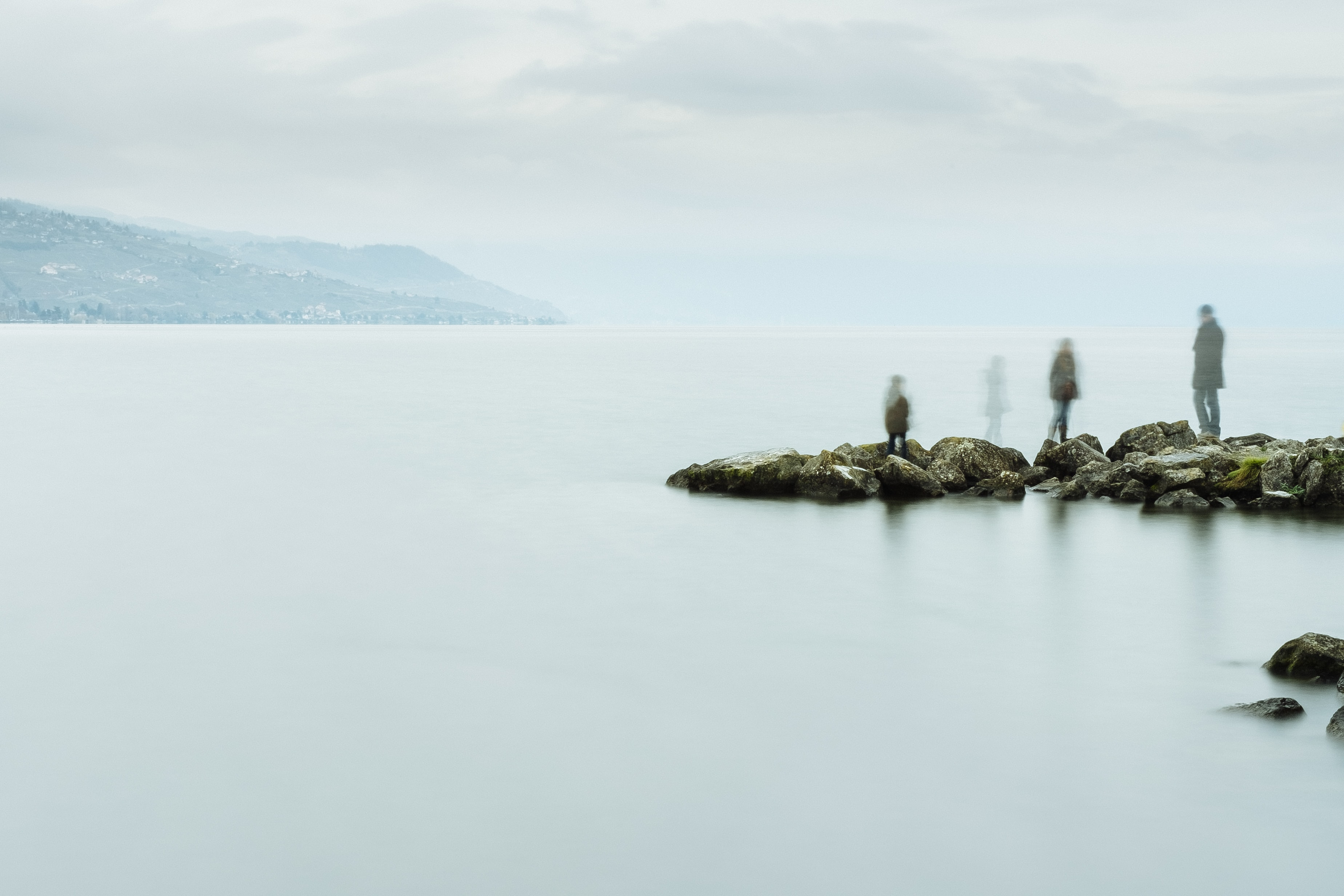 Ghostly family on the rocks