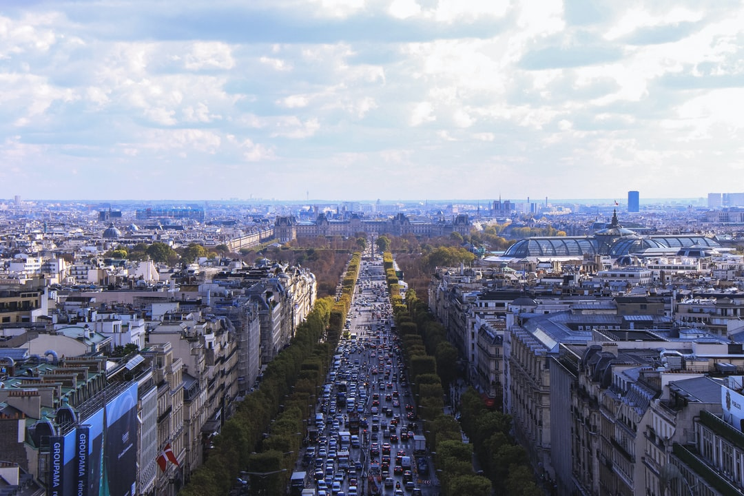 Cityscape of Paris with traffic