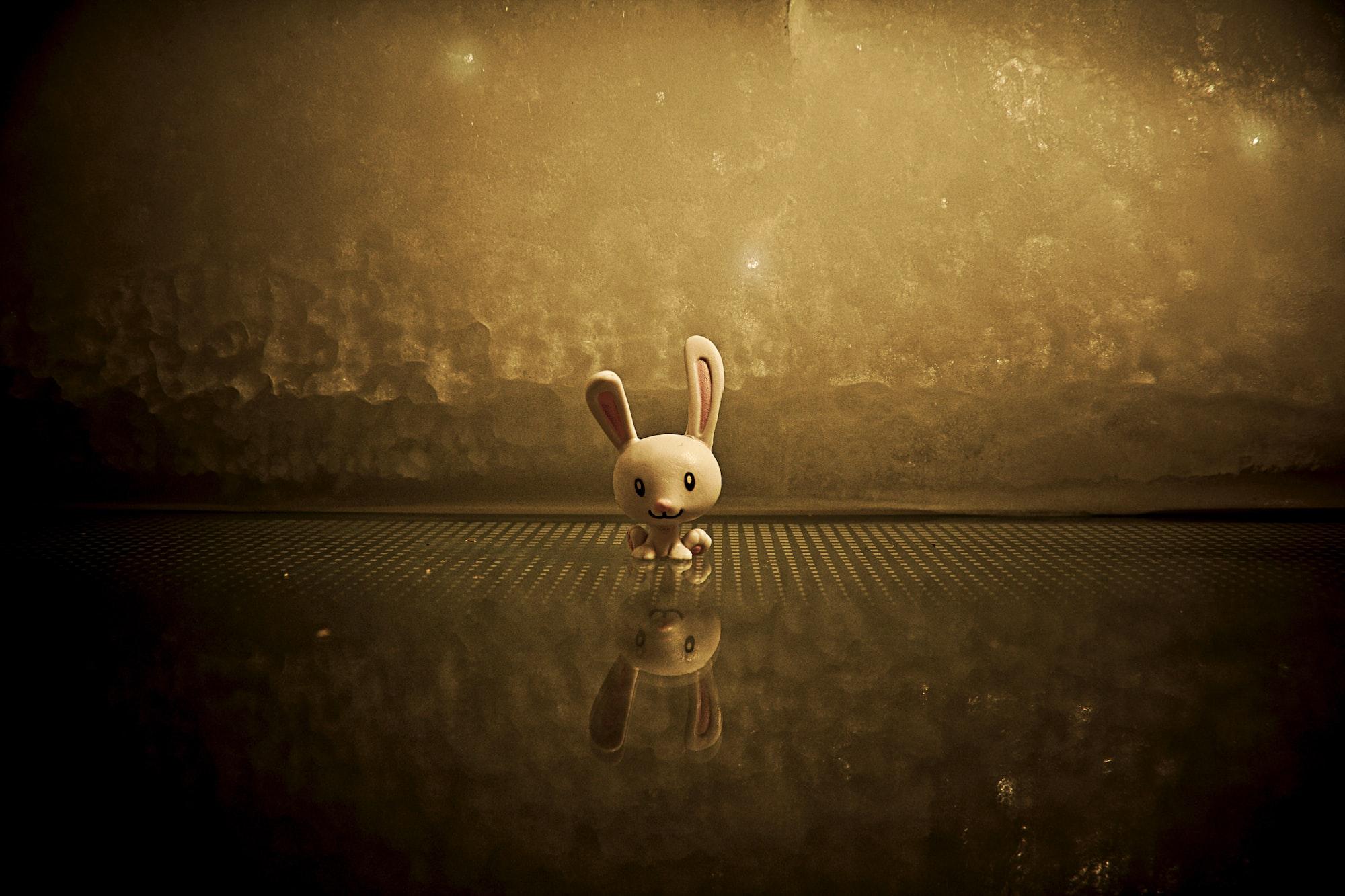 Smiling plastic bunny