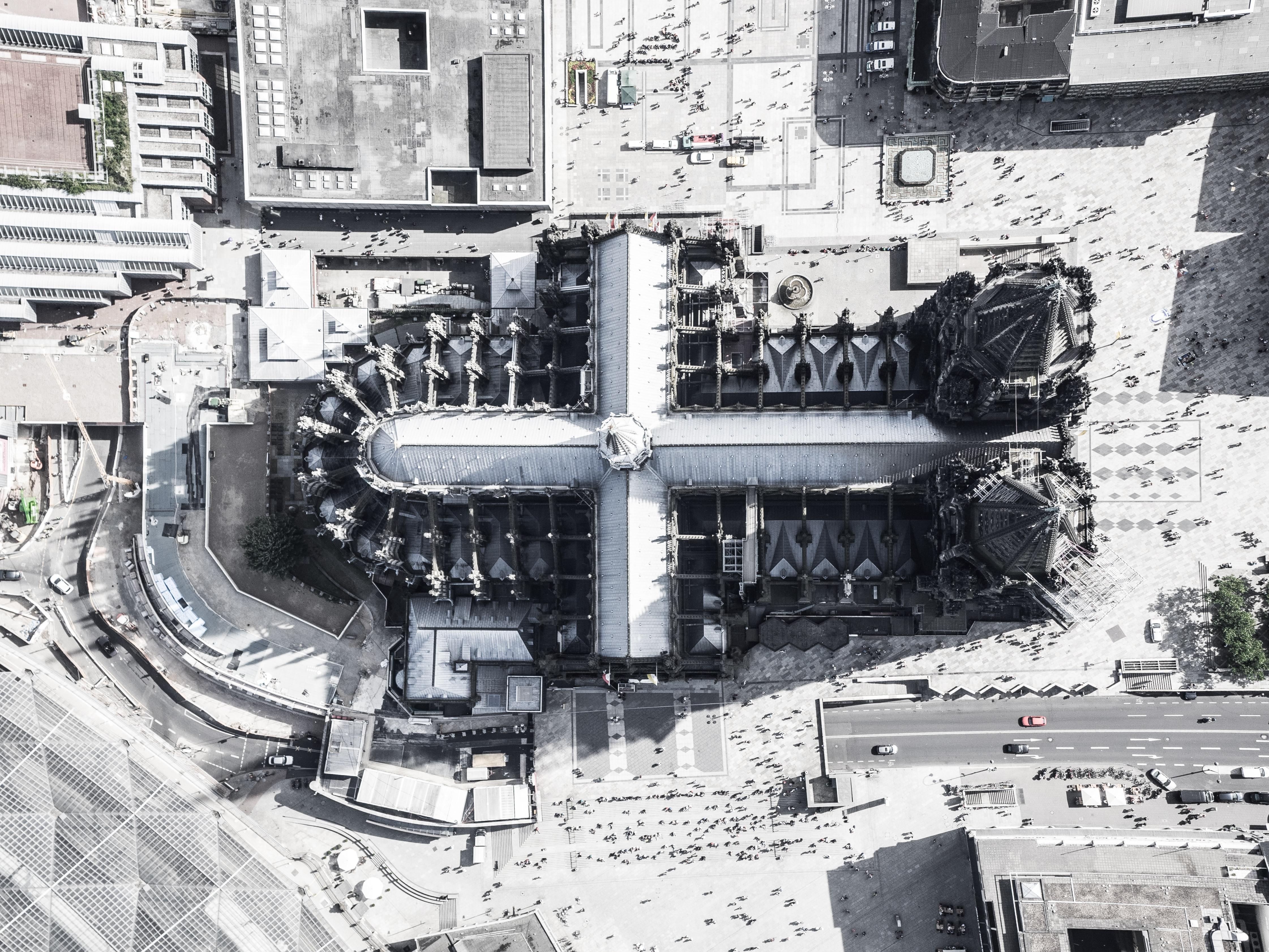 aerial photography of cross-shaped building