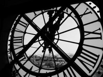Behind a clock