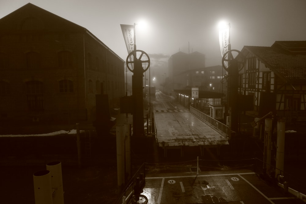 sepia photography of city